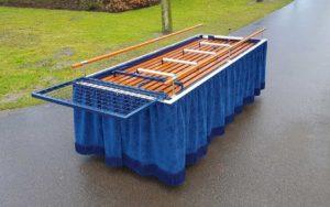Bloemenrek Blauw Baarwagen Begraafplaats