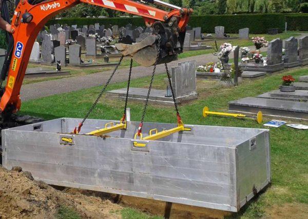 Hijs Viersprong Kettingen Graafmachine Begraafplaats