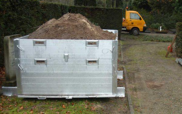 Grond Opslagcontrainer Looprooster Zandopslag Begraafplaats Werkzaamheden